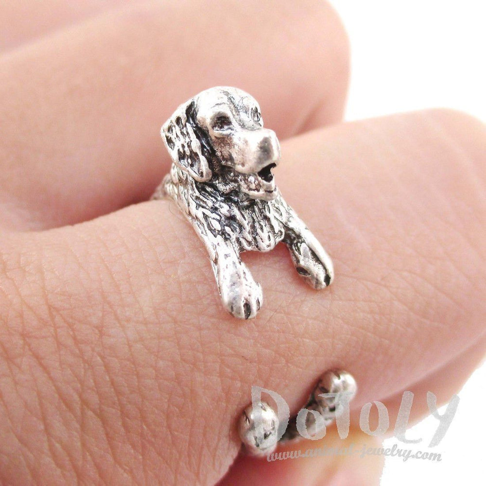 3D Golden Retriever Shaped Animal Wrap Ring in Silver | Animal Rings