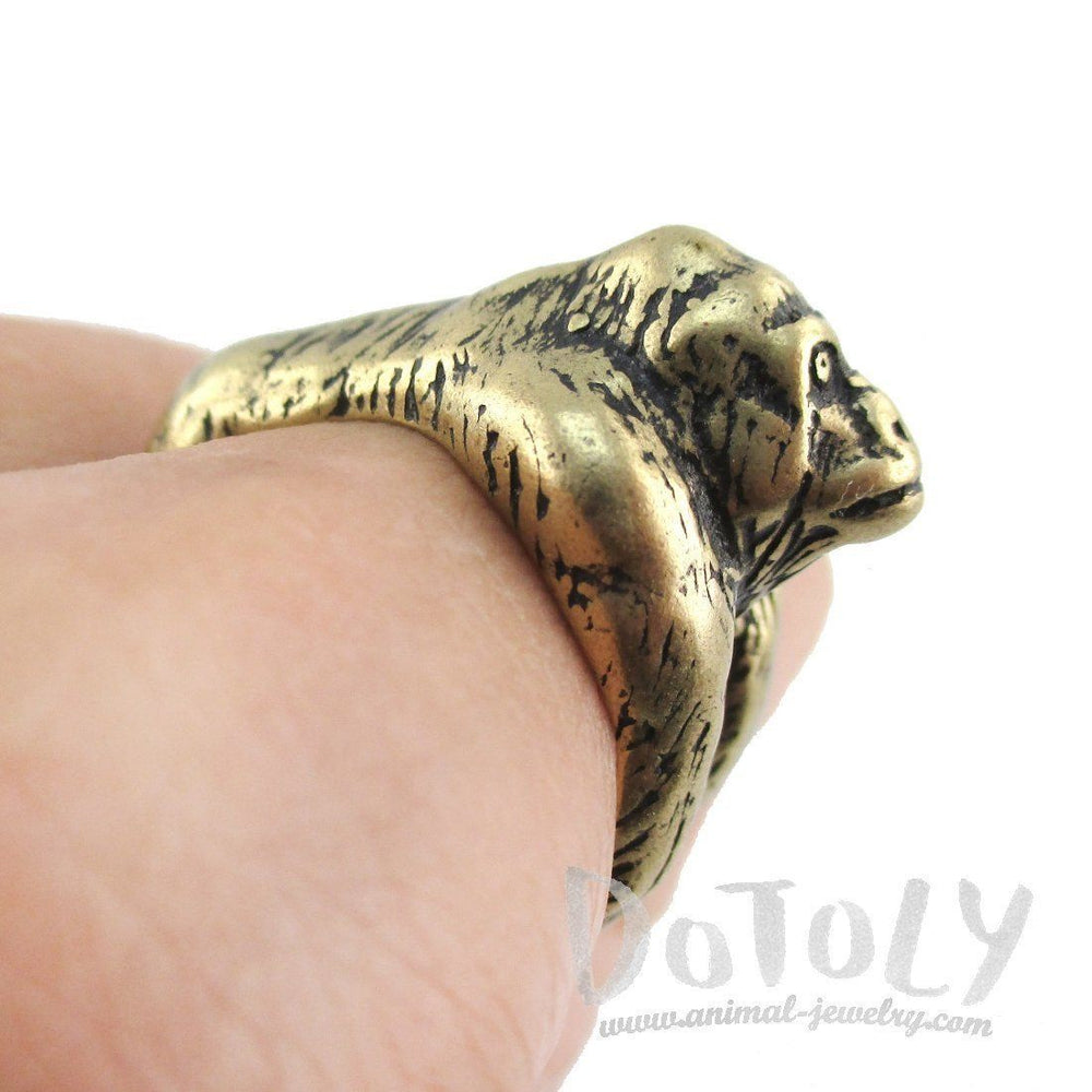 Gorilla Ape Shaped King Kong Wrapped Around Your Finger Ring in Brass