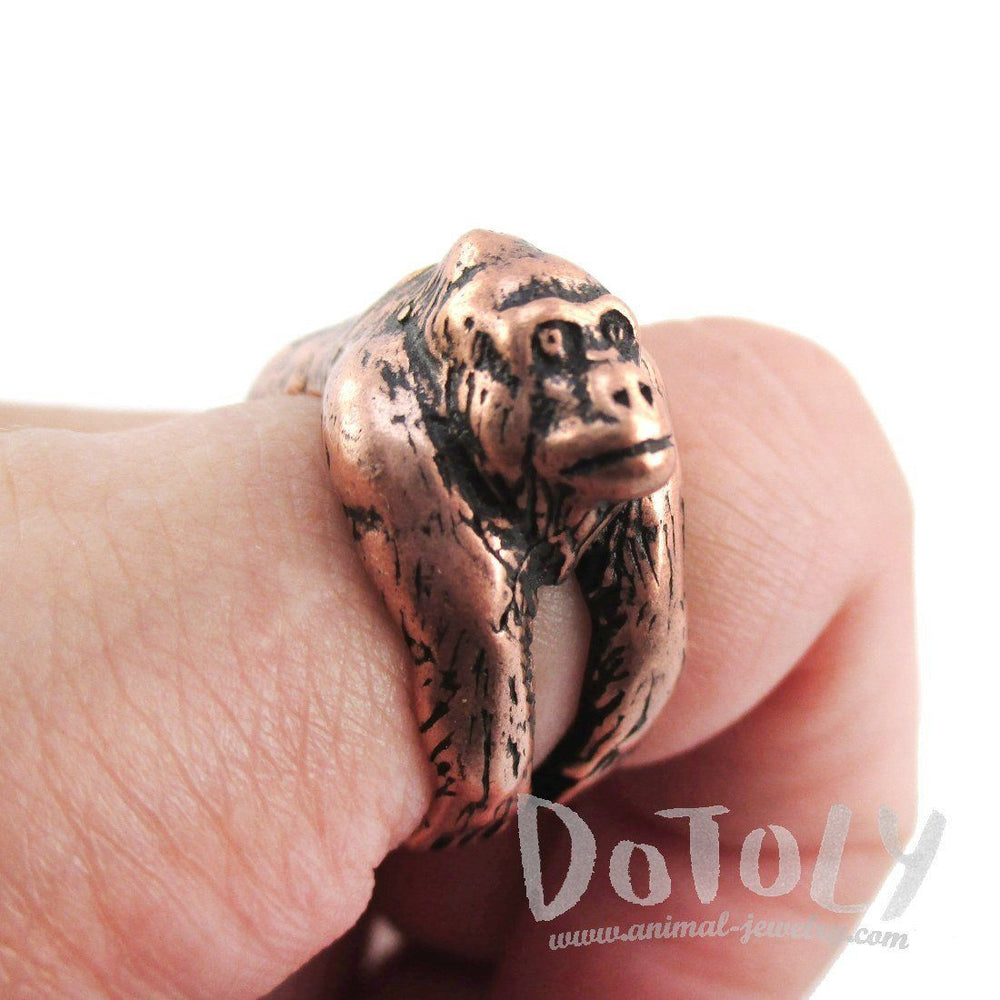 Gorilla Ape Shaped King Kong Wrapped Around Your Finger Ring in Copper