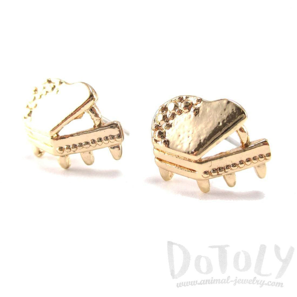 3D Grand Piano Shaped Music Themed Stud Earrings in Gold | DOTOLY | DOTOLY
