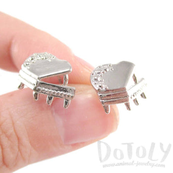 3D Grand Piano Shaped Music Themed Stud Earrings in Silver | DOTOLY | DOTOLY
