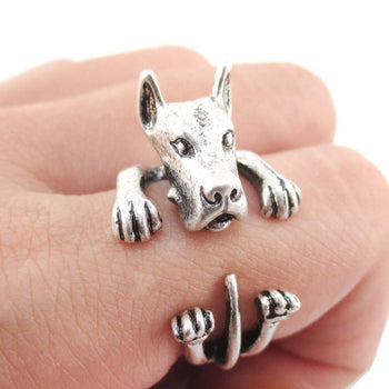 3D Great Dane German Mastiff Dog Shaped Animal Wrap Ring in Silver