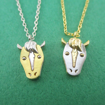 3D Horse Face with Raised Mane Shaped Pendant Necklace Silver or Gold