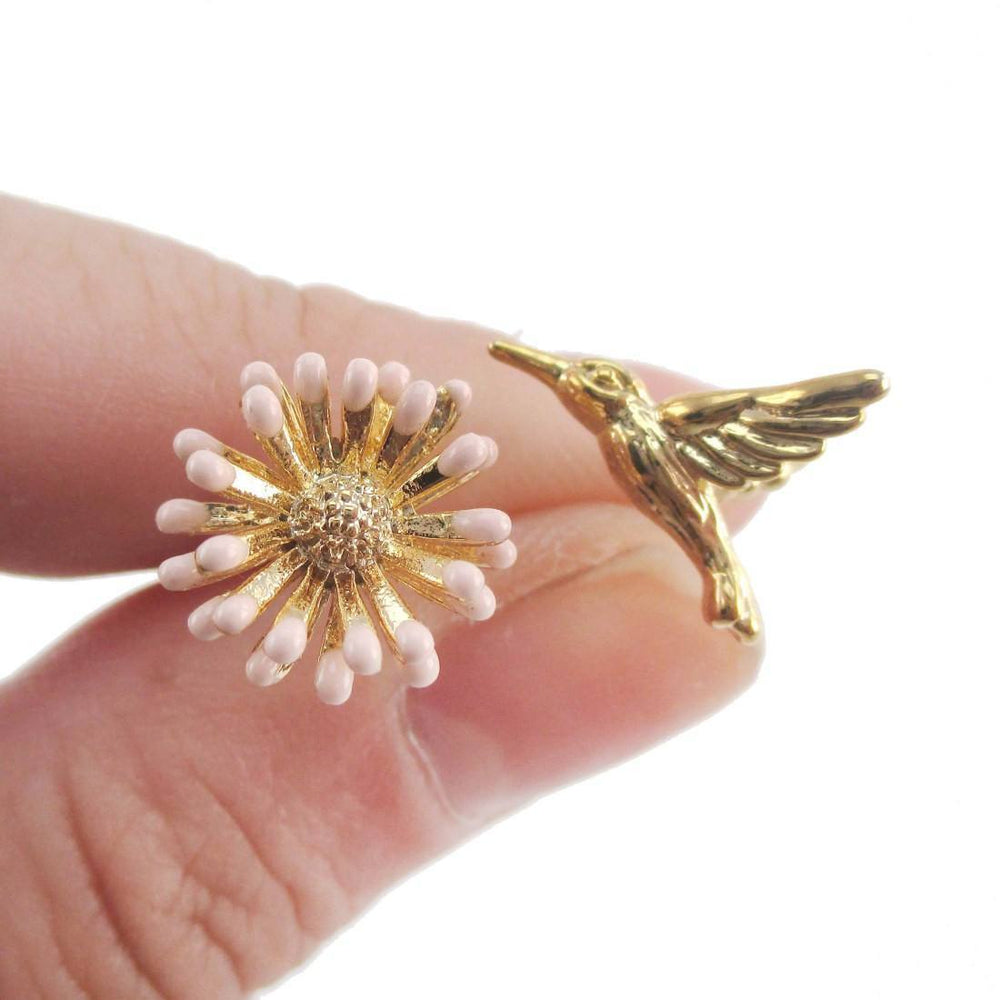 Hummingbird and Flower Shaped Stud Earrings in Gold | Animal Jewelry