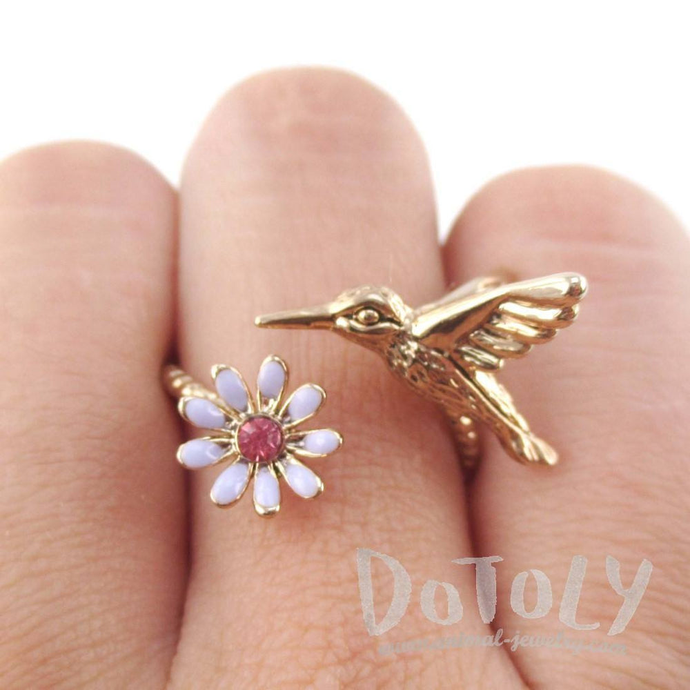 3D Hummingbird and Flower Shaped Wrap Adjustable Ring in Rose Gold