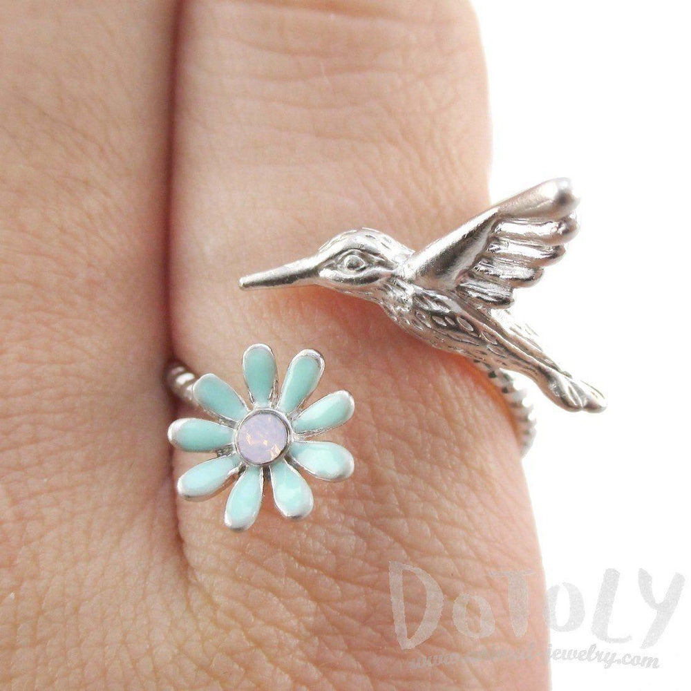 3D Hummingbird and Flower Wrap Around Adjustable Ring in Silver | DOTOLY