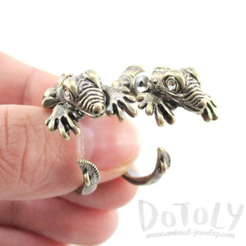 3D Iguana Lizard Shaped Front and Back Two Part Stud Earrings in Brass | DOTOLY