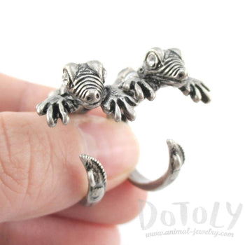 3D Iguana Lizard Shaped Front and Back Two Part Stud Earrings in Silver | DOTOLY