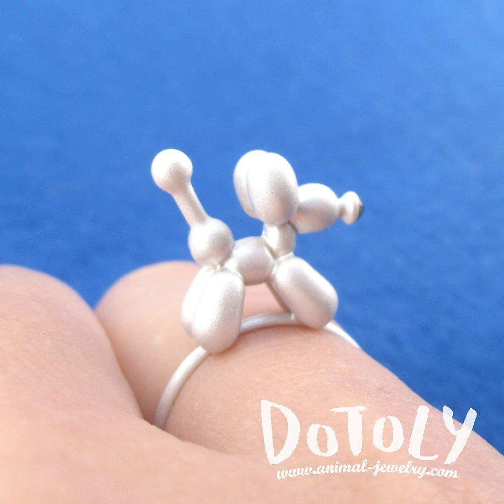 3D Jeff Koons Balloon Dog Shaped Ring in White | DOTOLY