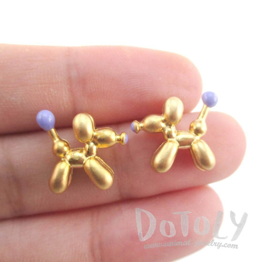 3D Jeff Koons Balloon Dog Shaped Stud Earrings in Purple and Gold