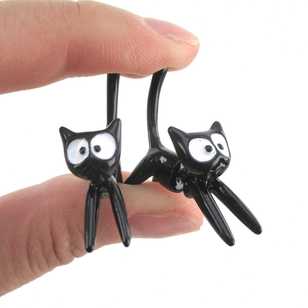 3D Kiki's Delivery Jiji Black Kitty Cat Shaped Two Part Stud Earrings