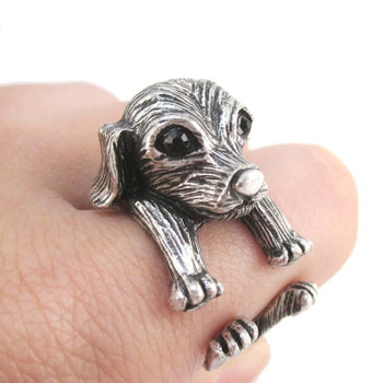 3D King Charles Spaniel Dog Shaped Miniature Animal Ring in Silver