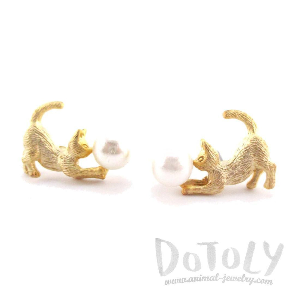 3D Kitty Cat Playing With a Ball Shaped Stud Earrings in Gold | DOTOLY