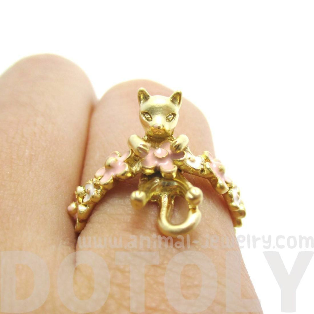 3D Kitty Cat Shaped Animal Ring on a Floral Band in Gold | DOTOLY