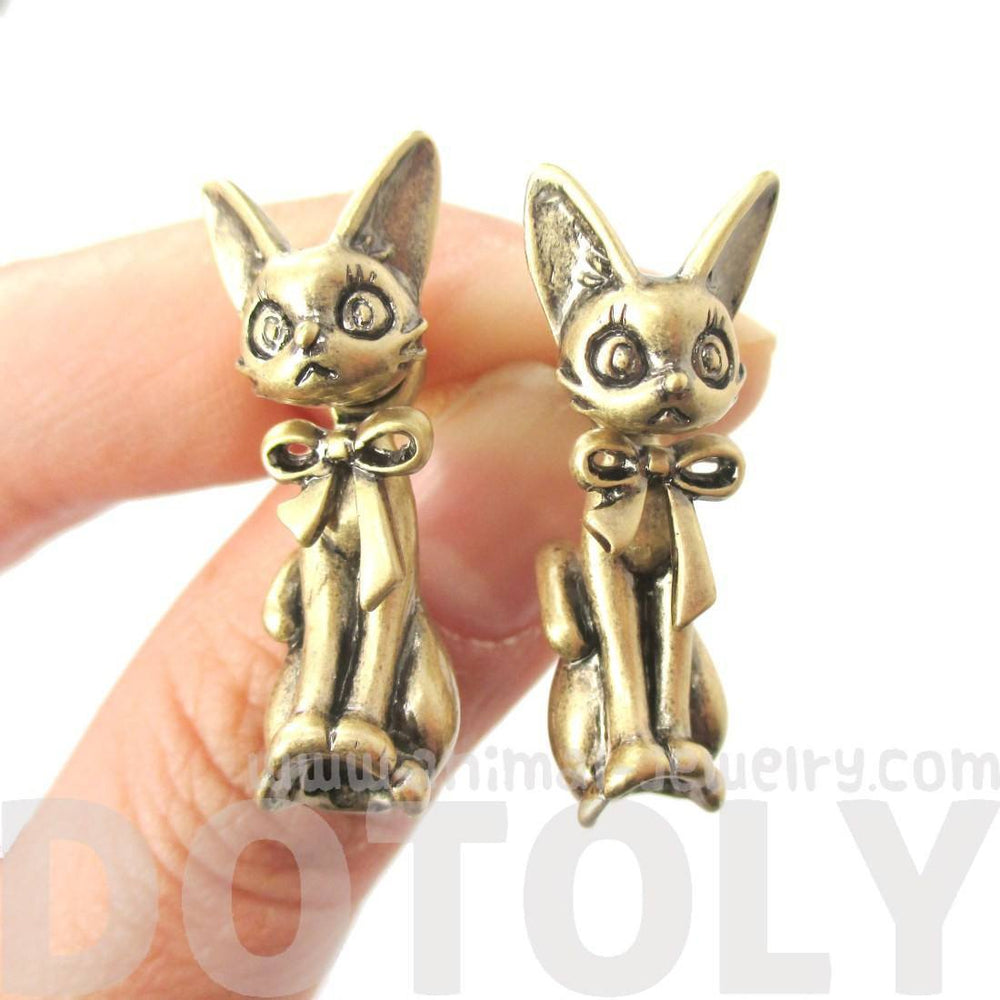 3D Kitty Cat Shaped Two Part Front and Back Dangle Earrings in Brass | DOTOLY | DOTOLY