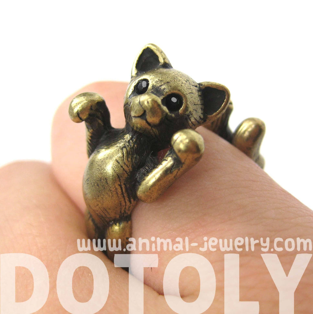 3D Kitty Cat Two Tailed Animal Wrap Around Ring in Brass - Sizes 5 to 9 Available | DOTOLY