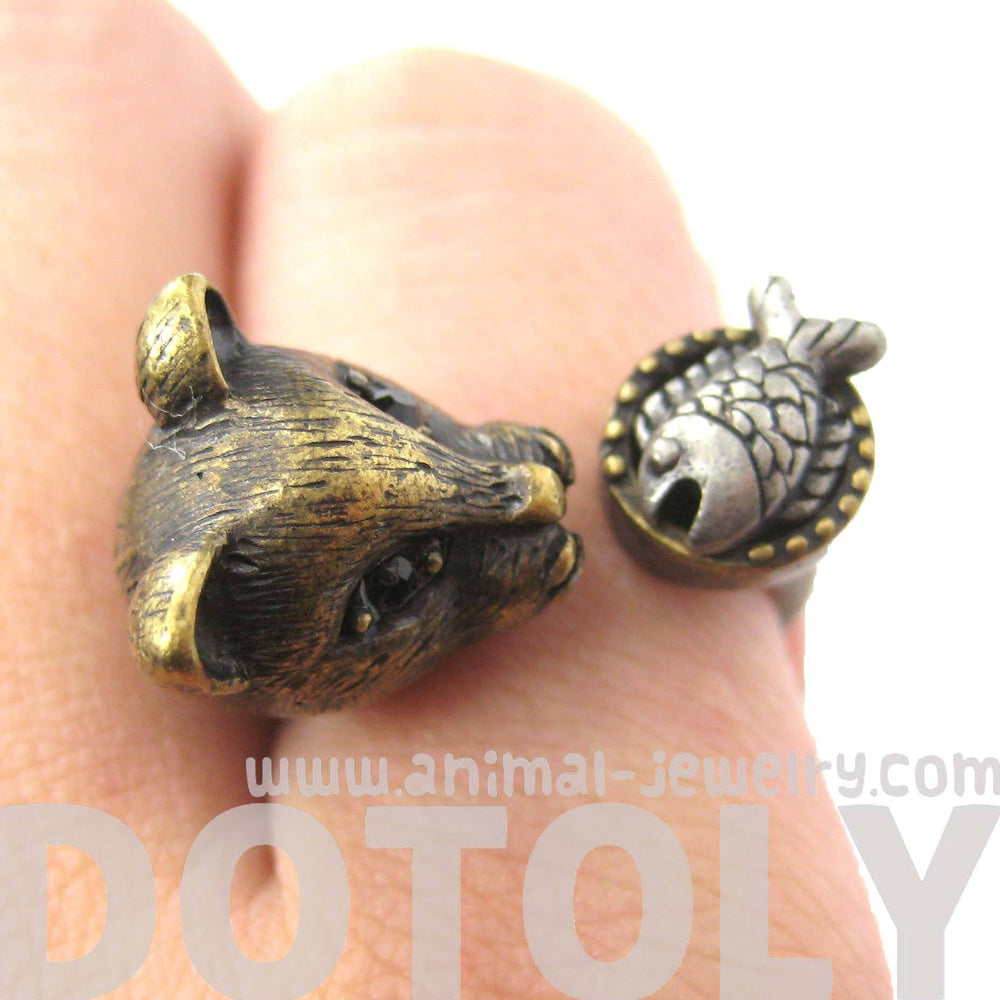 3D Kitty Cat with Fish Animal Wrap Ring in Brass | US Sizes 7 to 11 | DOTOLY
