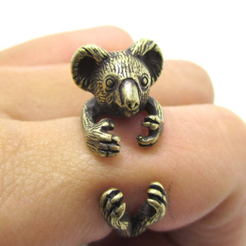 3D Koala Bear Wrapped Around Your Finger Shaped Animal Ring in Brass | US Size 4 to 8.5 | DOTOLY