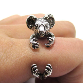 3D Koala Bear Wrapped Around Your Finger Shaped Animal Ring in Shiny Silver | US Size 4 to 8.5 | DOTOLY