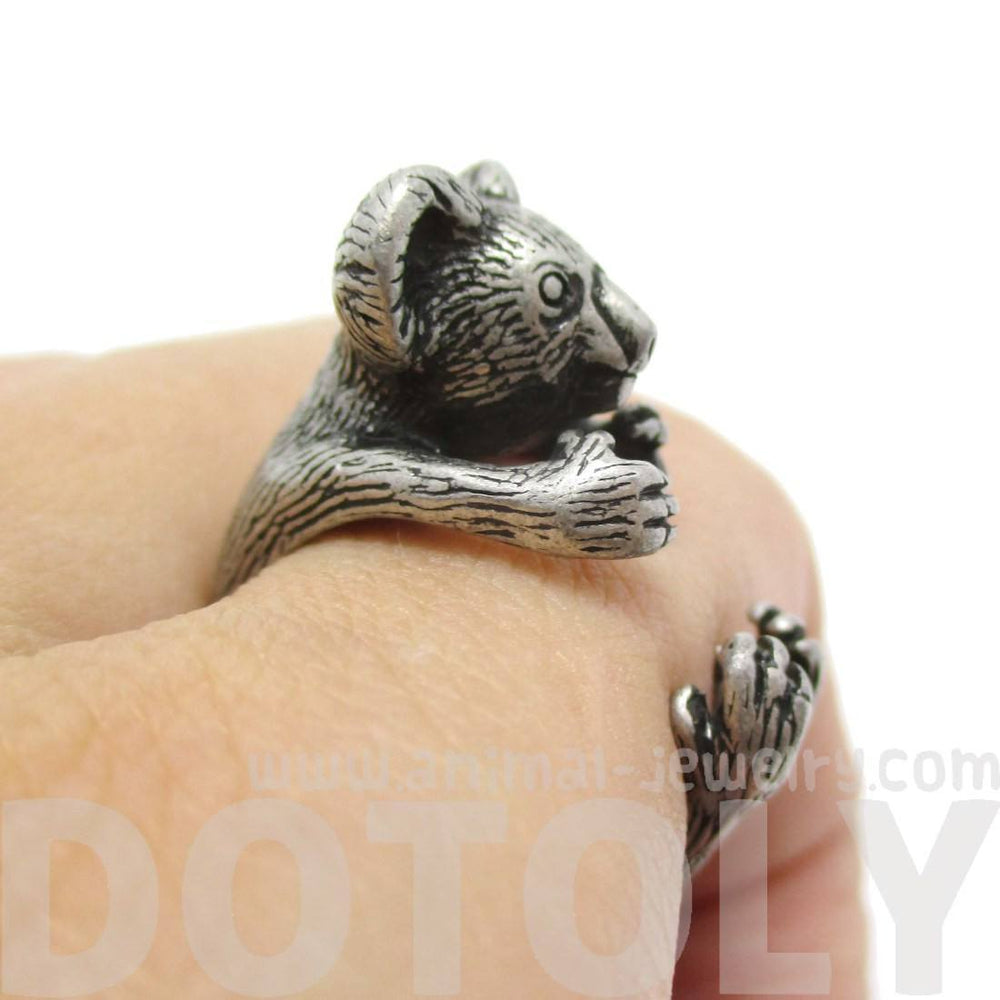 3D Koala Bear Wrapped Around Your Finger Shaped Animal Ring in Silver | US Size 4 to 8.5 | DOTOLY