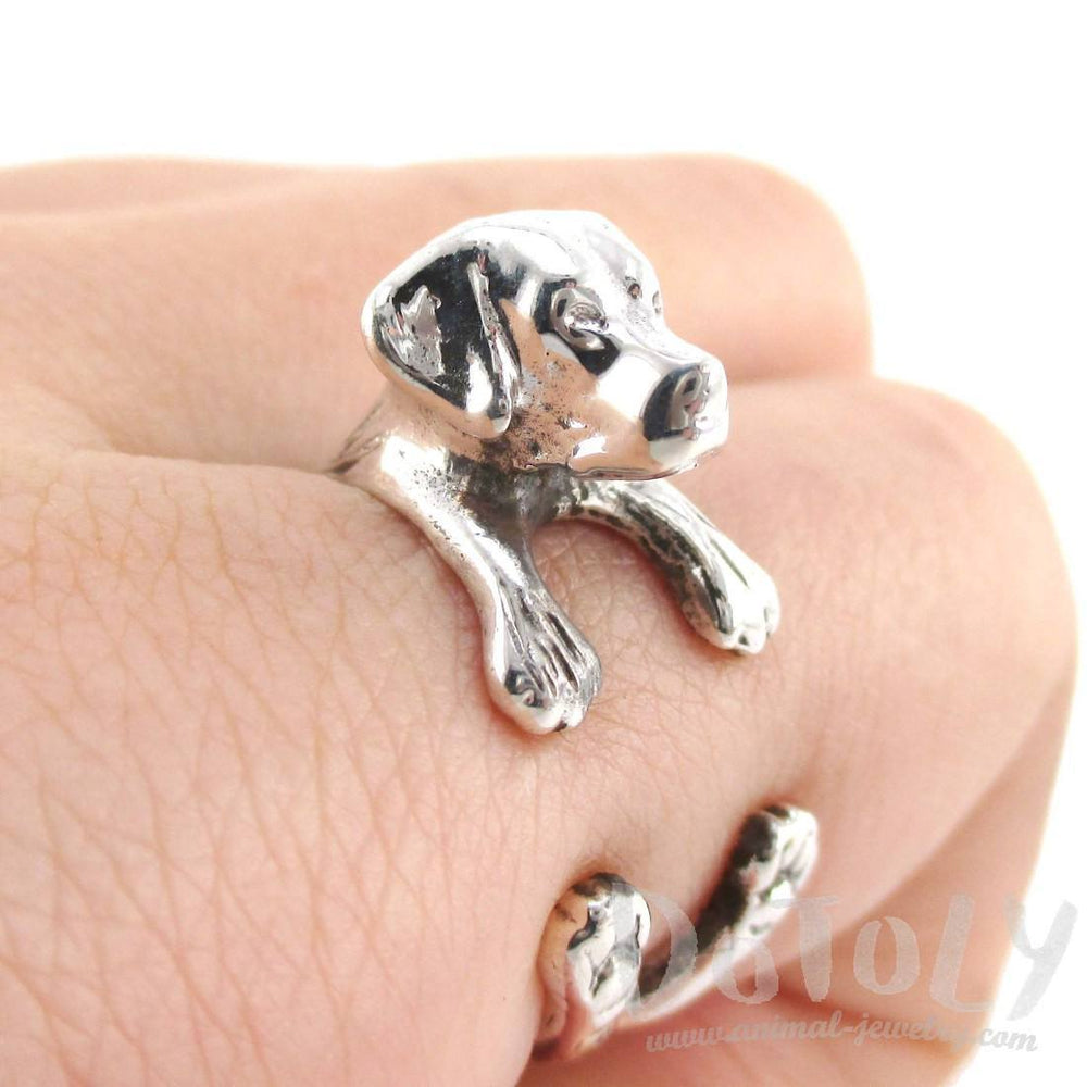 3D Labrador Retriever Shaped Animal Wrap Ring in 925 Sterling Silver | Sizes 4 to 8.5 | DOTOLY