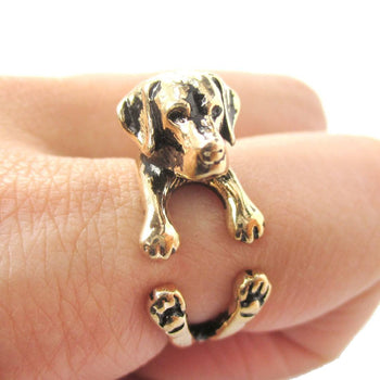 3D Labrador Retriever Shaped Animal Wrap Ring in Shiny Gold | Sizes 4 to 8.5 | DOTOLY