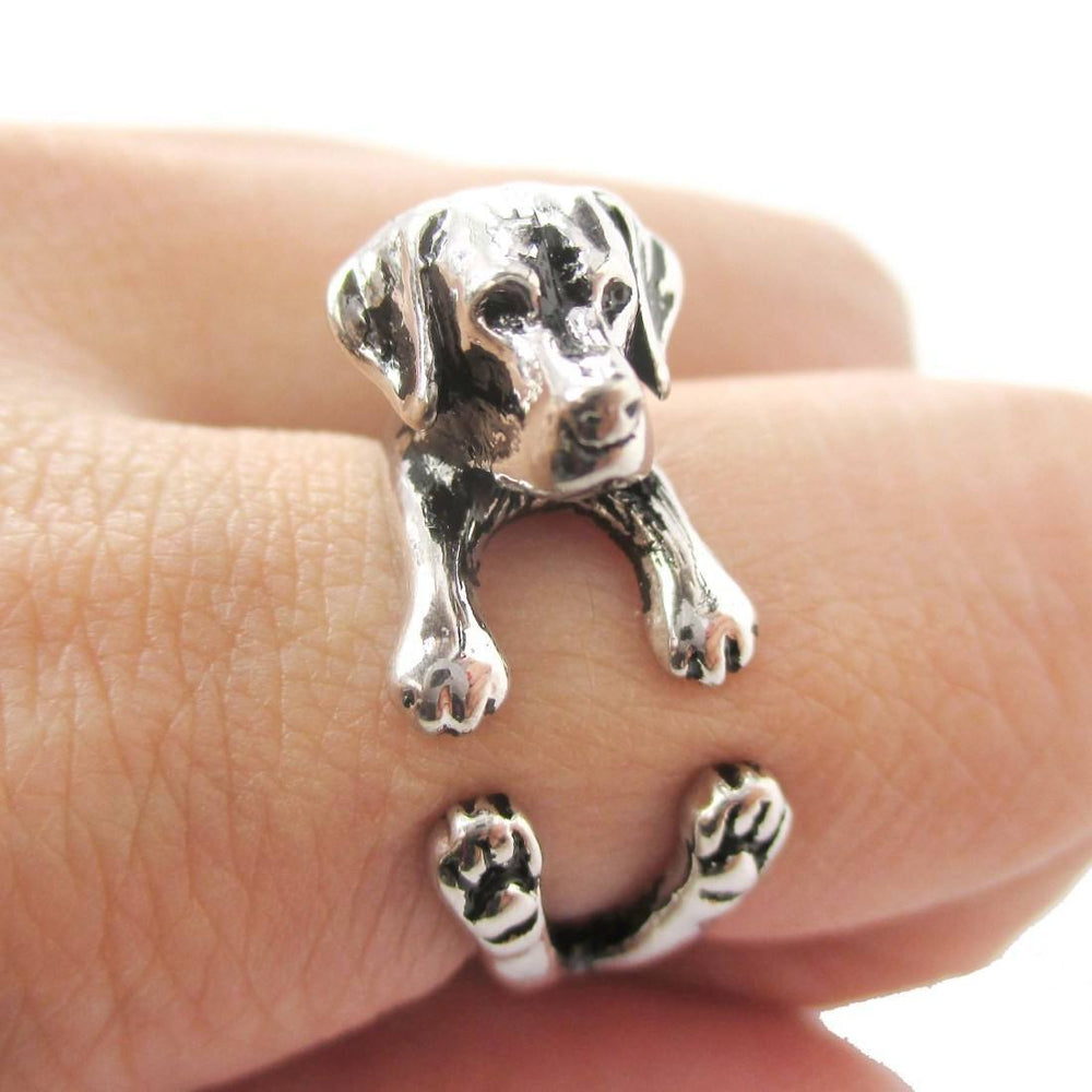 3D Labrador Retriever Shaped Animal Wrap Ring in Shiny Silver | Sizes 4 to 8.5 | DOTOLY
