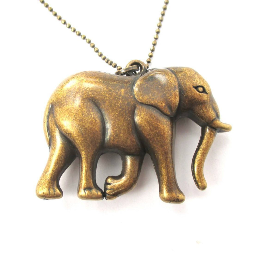 3D Large Elephant Shaped Animal Pendant Necklace in Brass | DOTOLY | DOTOLY