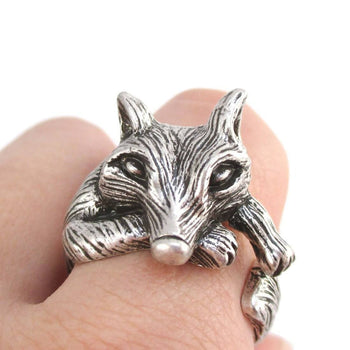 3D Lazy Fox Wrapped Around Your Finger Animal Ring in Silver | DOTOLY