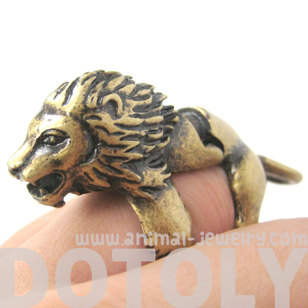 3D Lion Shaped Animal Wrap Armor Knuckle Joint Ring in Brass | Size 5 to 9 | DOTOLY