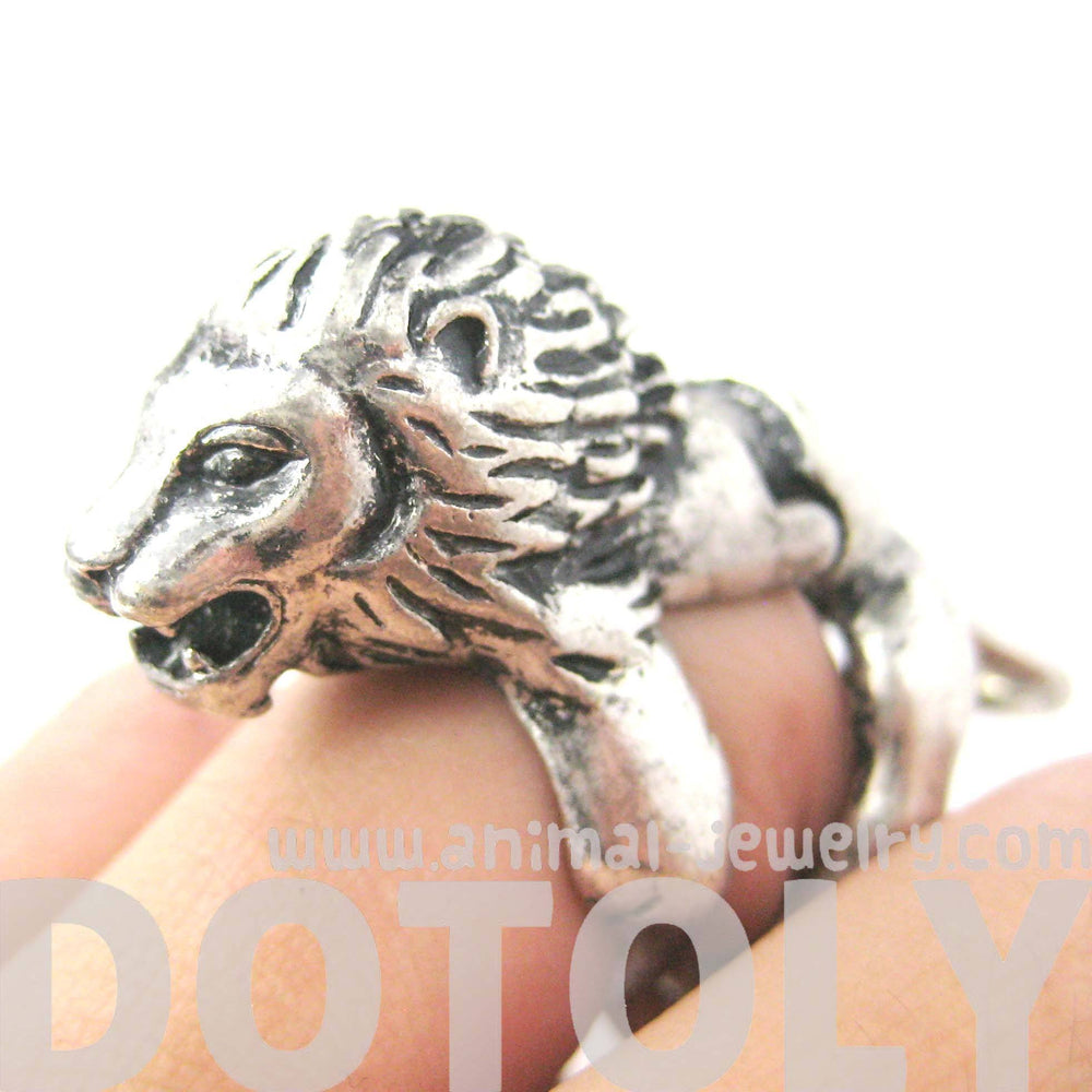 3D Lion Shaped Animal Wrap Armor Knuckle Joint Ring in Silver | Size 5 to 9 | DOTOLY
