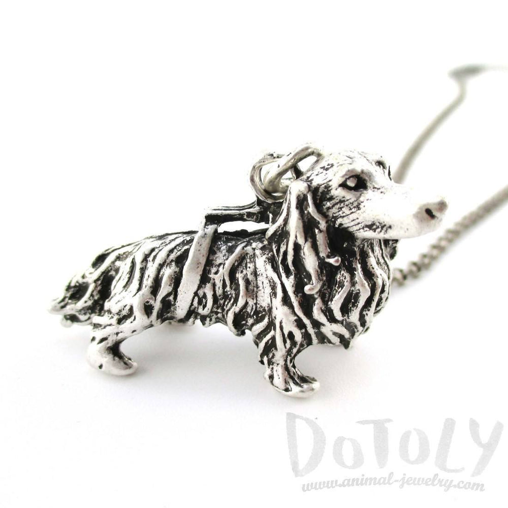 3D Longhaired Dachshund Shaped Animal Pendant Necklace | Jewelry for Dog Lovers | DOTOLY