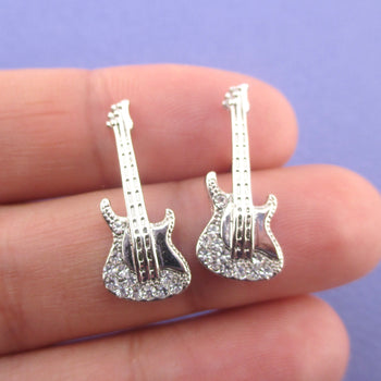 Miniature Electric Bass Guitar Shaped Musical Instrument Stud Earrings