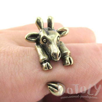 3D Miniature Giraffe Shaped Animal Wrap Ring in Brass | US Sizes 6 to 8 | DOTOLY