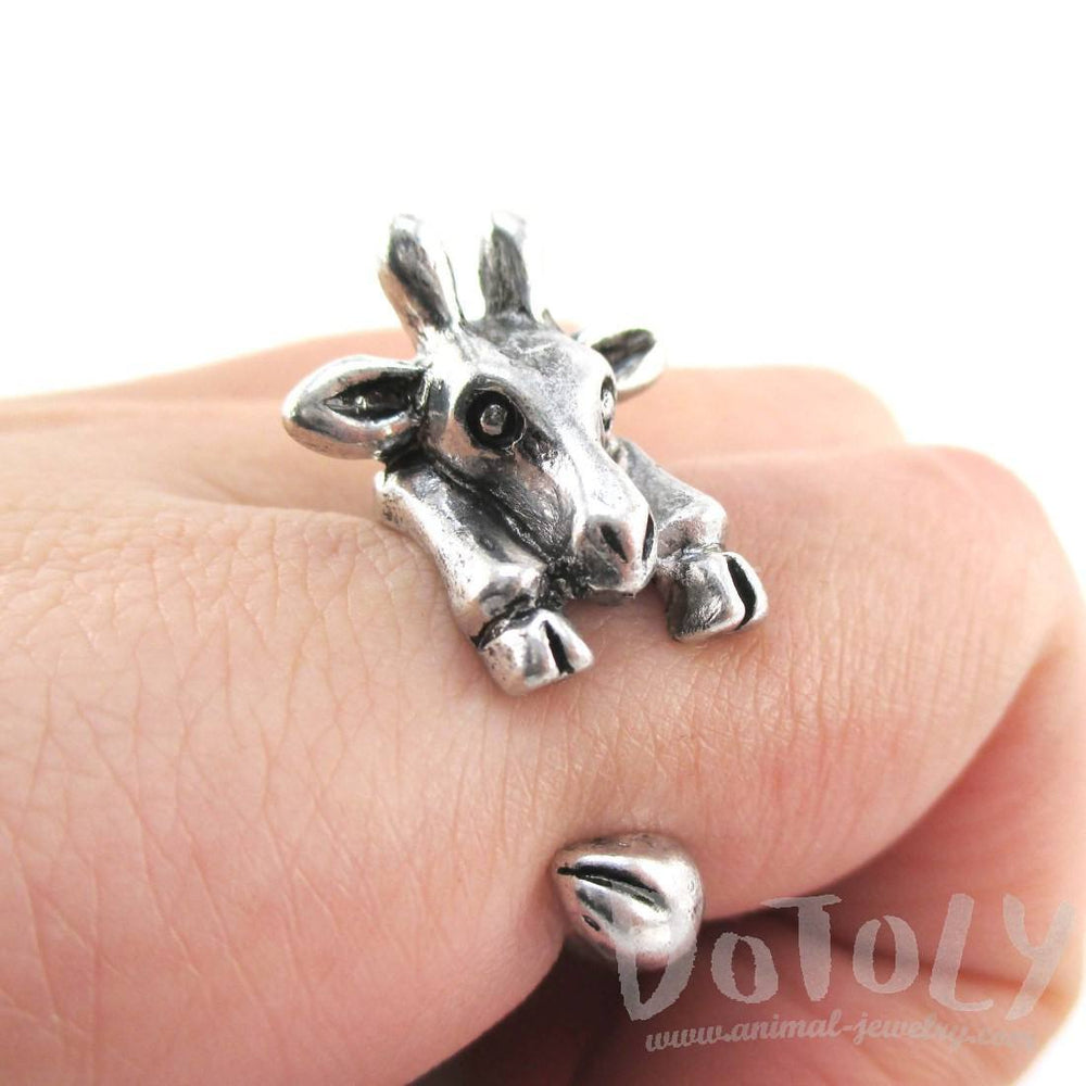 3D Miniature Giraffe Shaped Animal Wrap Ring in Silver | US Sizes 6 to 8 | DOTOLY