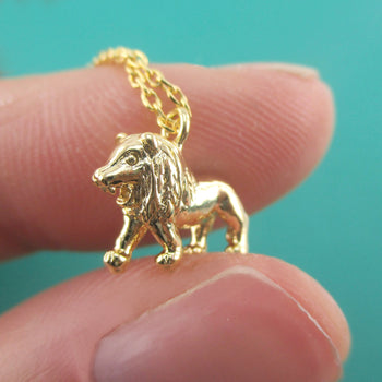 3D Miniature Lion Figure Shaped Pendant Necklace in Silver or Gold