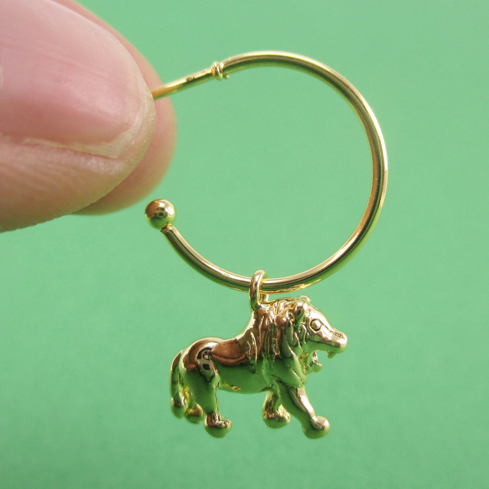 3D Miniature Lion Shaped Stud Hoop Earrings in Silver or Gold | DOTOLY