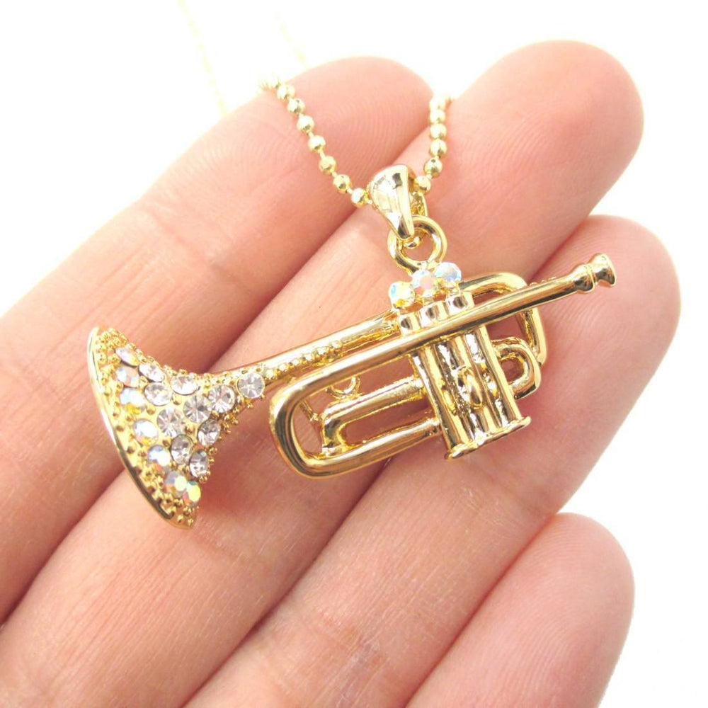 3D Miniature Musical Instrument Trumpet Shaped Pendant Necklace in Gold | DOTOLY