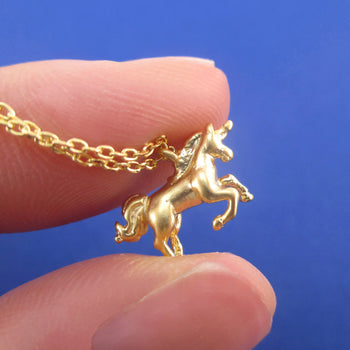 6a6fbcc08 3D Miniature Rearing Unicorn Shaped Pendant Necklace in Silver or Gold