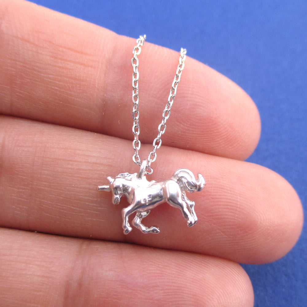 3D Miniature Rearing Unicorn Shaped Pendant Necklace in Silver or Gold