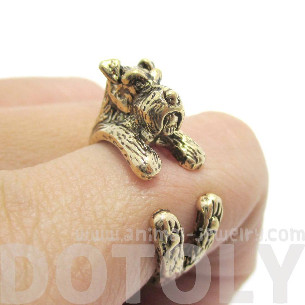 3D Miniature Schnauzer Dog Shaped Animal Wrap Ring in Shiny Gold | US Sizes 5 to 9 | DOTOLY