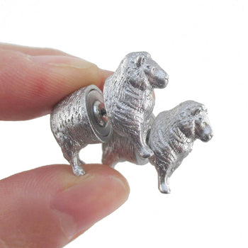 3D Miniature Sheep Shaped Two Part Front Back Stud Earrings in Silver