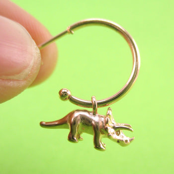 3D Miniature Triceratops Dinosaur Shaped Stud Hoop Earrings | DOTOLY