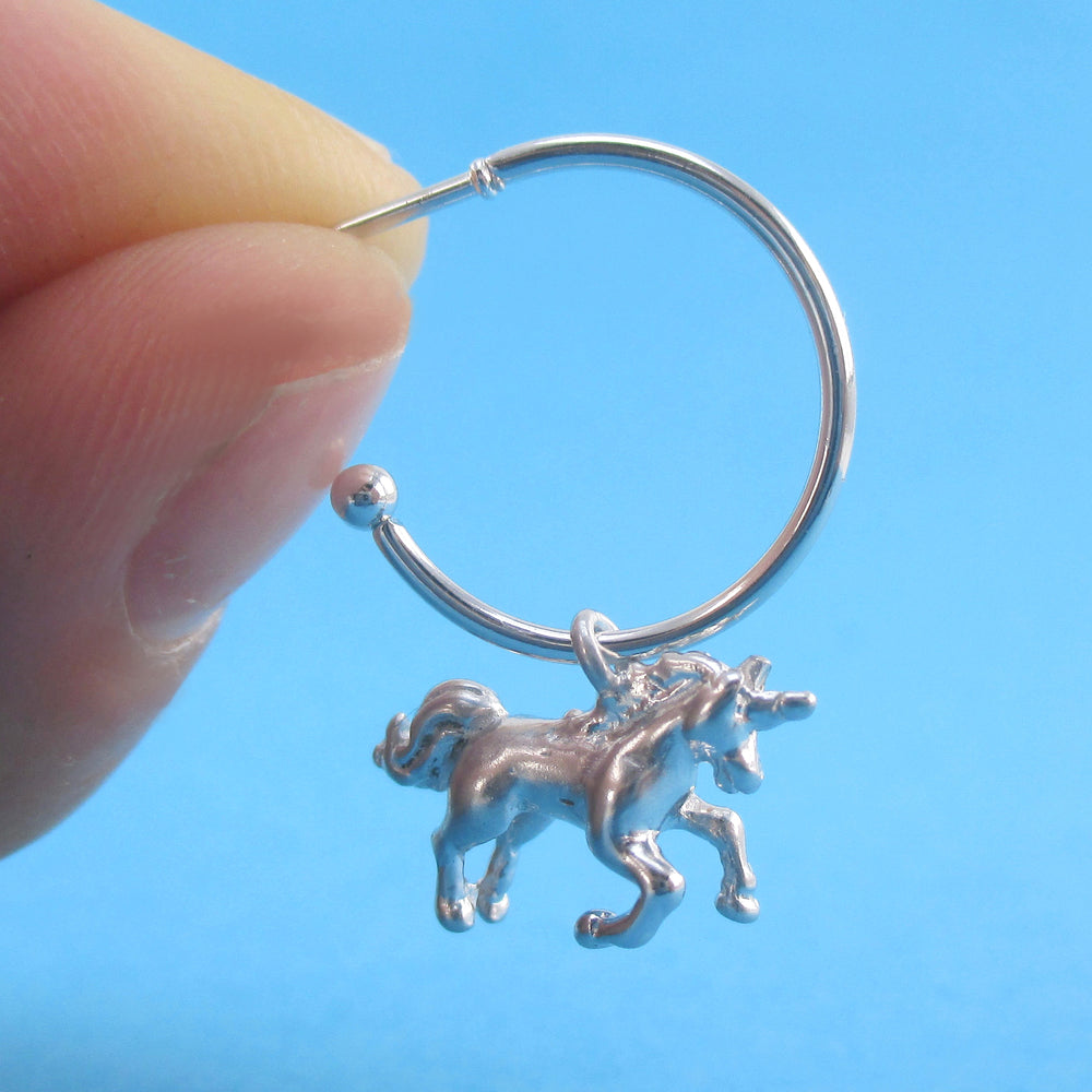 3D Miniature Unicorn Shaped Stud Hoop Earrings Silver or Gold | DOTOLY