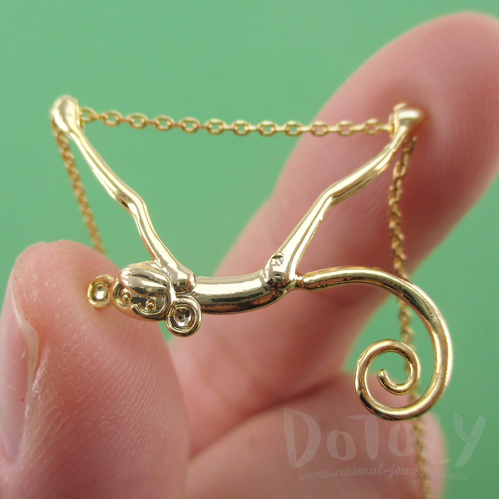 3D Monkey Chimpanzee with a Curly Tail Dangling Gold Pendant Necklace