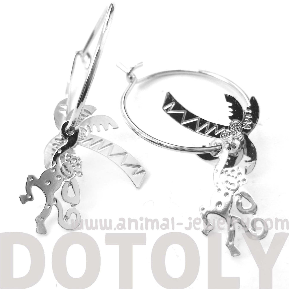 3D Monkey Swinging From A Palm Tree Dangle Hoop Earrings in Silver | Animal Jewelry | DOTOLY