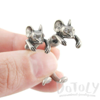 3D Mouse Shaped Front and Back Two Part Stud Earrings in Silver | DOTOLY