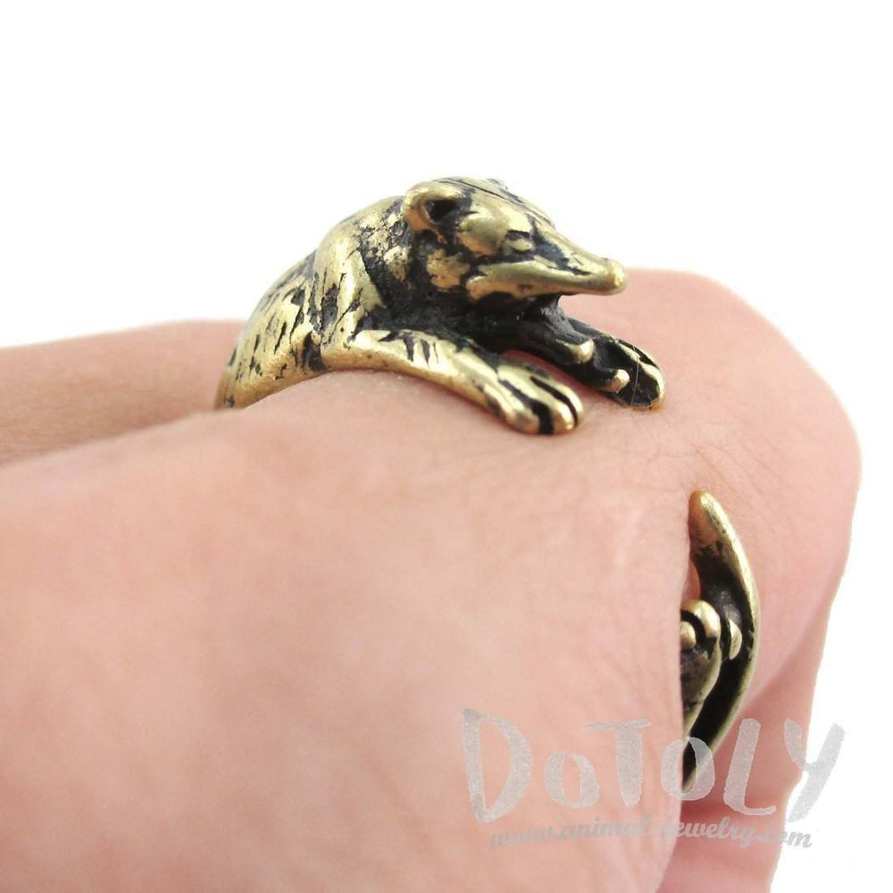 3D Opossum Possum Wrapped Around Your Finger Shaped Ring in Brass | DOTOLY