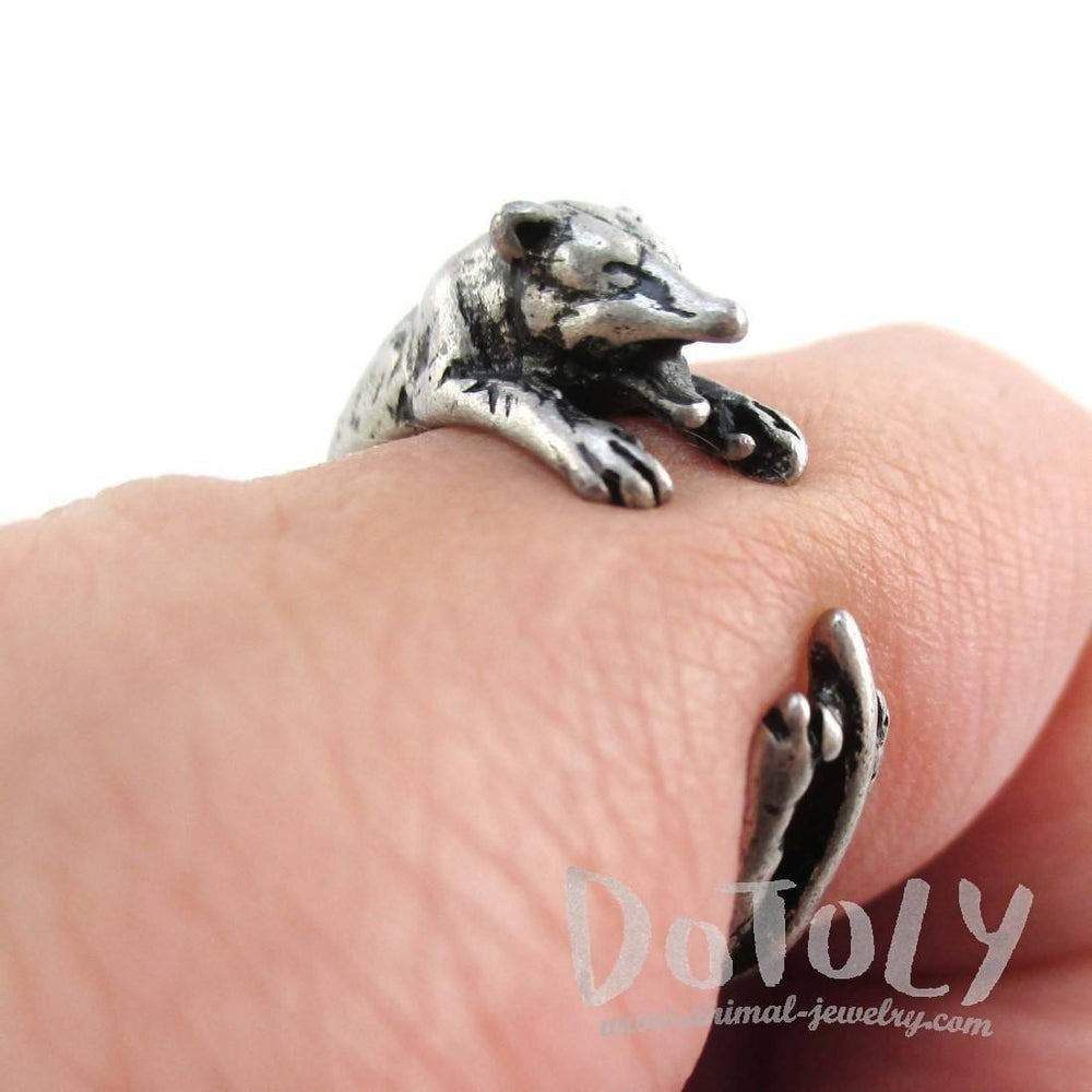 3D Opossum Possum Wrapped Around Your Finger Shaped Ring in Silver
