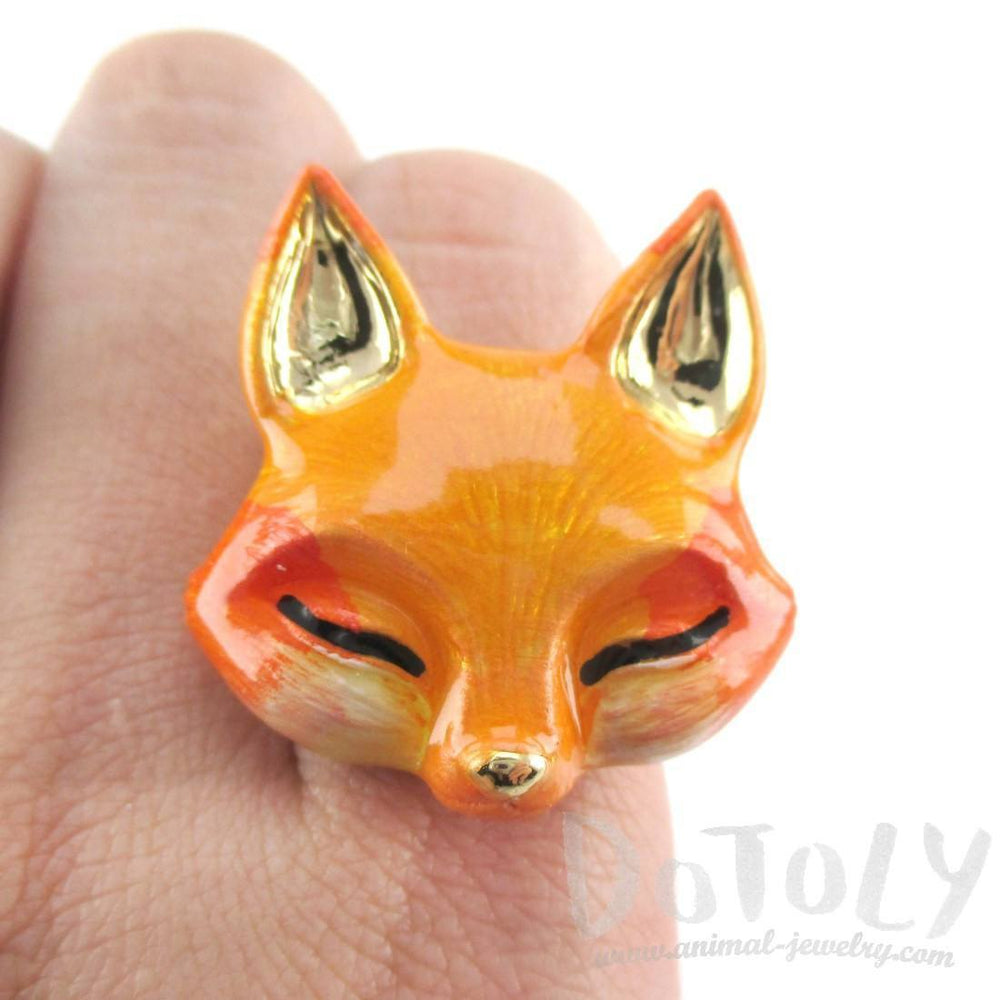 3D Orange Fox Shaped Adjustable Enamel Ring | Handmade Animal Jewelry | DOTOLY